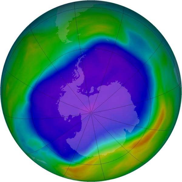 Rekordowo wielka dziura ozonowa - stan z 24 września 2006 r.(NASA/Ozone Hole Watch)