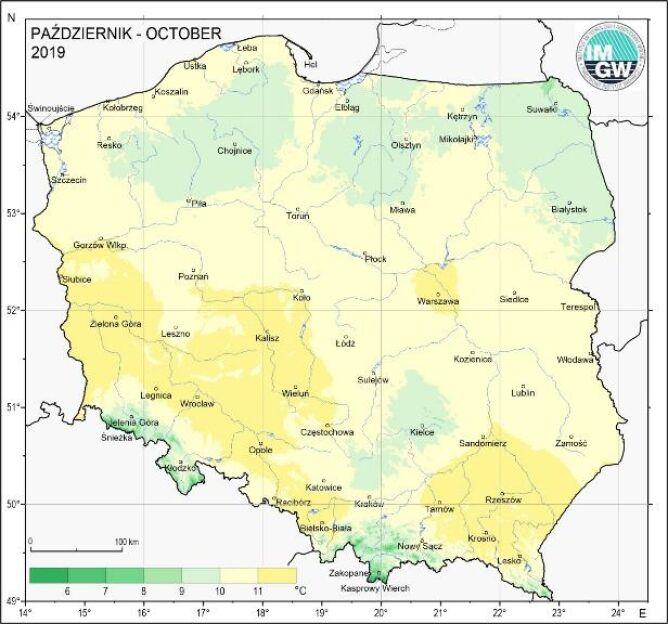 Przestrzenny rozkład średniej miesięcznej temperatury powietrza w październiku 2019 (IMGW-PIB)