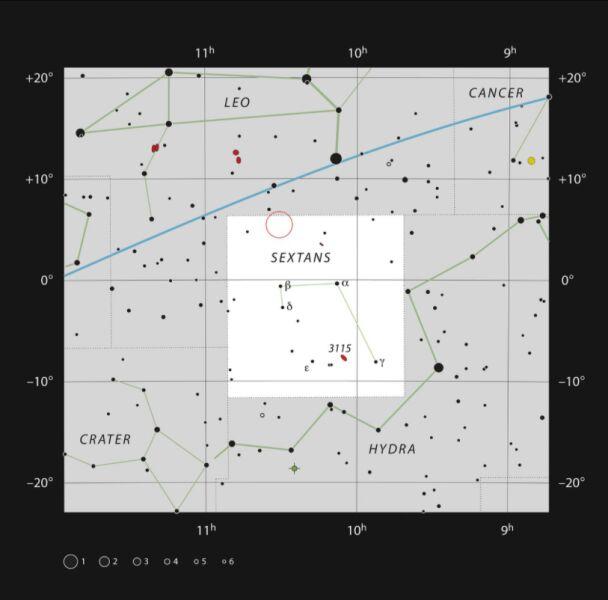Lokalizacja supermasywnej czarnej dziury w gwiazdozbiorze Sekstantu (ESO, IAU and Sky & Telescope)