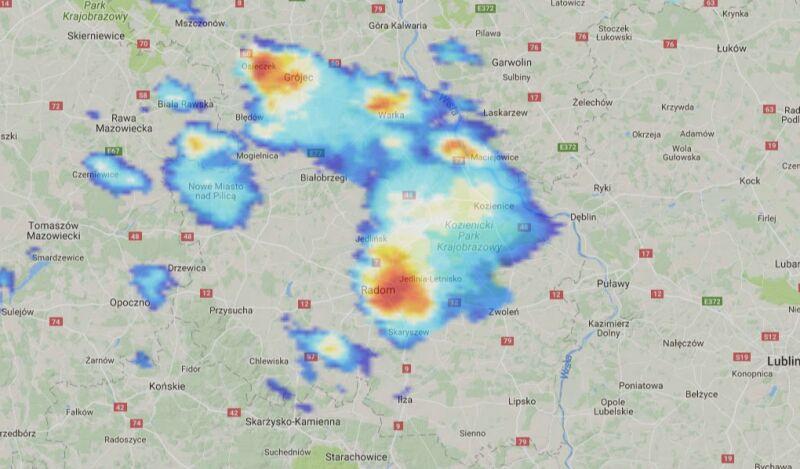 Opady nad Radomiem o godz. 16.40 (radar-opadow.pl)