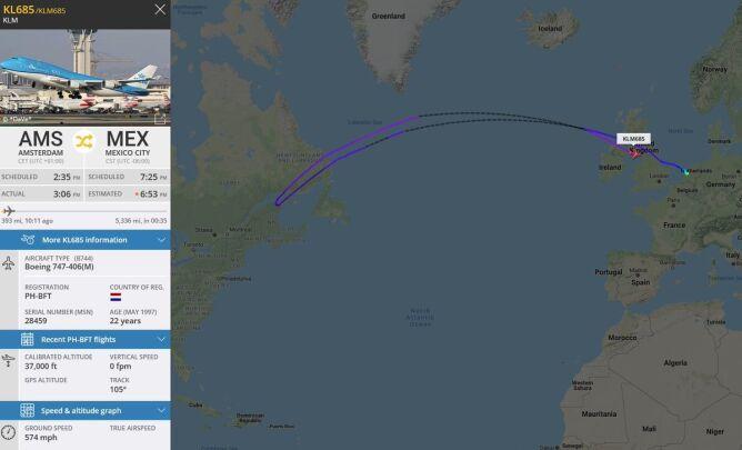 Trasa samolotu KLM (Flightradar)