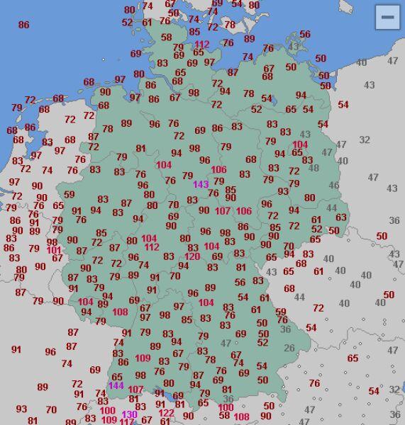 Maksymalna prędkość porywów wiatru do godziny 13 (wetteronline.de)