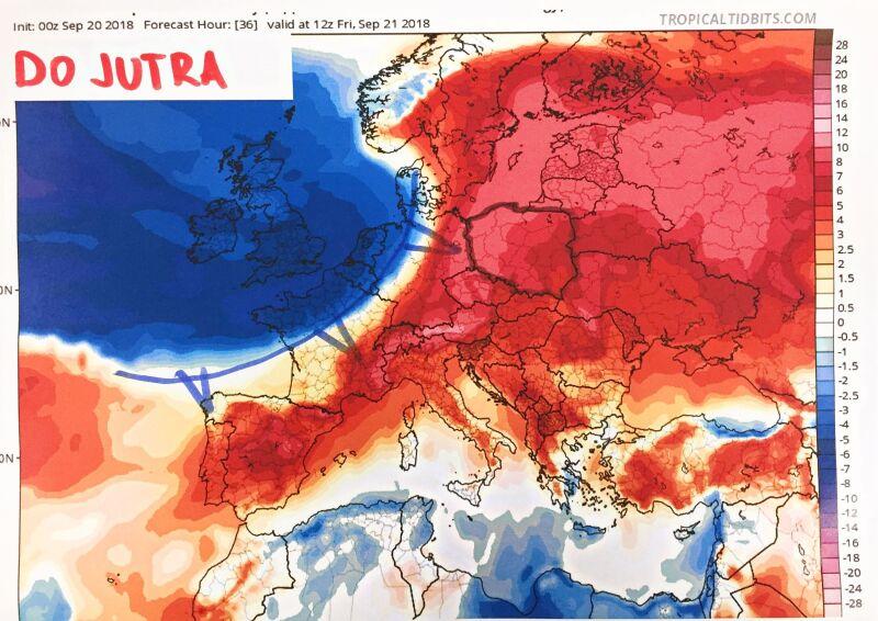 Prognozowane odchylenie temperatury od średniej (tropicaltidbits.com)