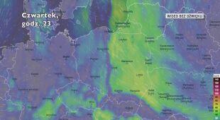 Prognozowane porywy wiatru w ciągu kolejnych dni (Ventusky)